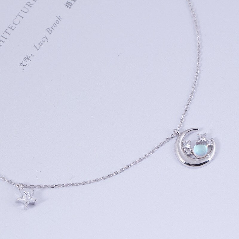 Silver zircon inlaid with stars and moon pendant necklace for women - Acecare Jewellery Store