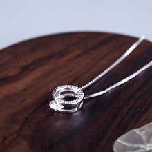 Load image into Gallery viewer, Silver Geometry Hollow Circle Full Diamond Necklace with simple temperament Single Zircon Short Chain - Acecare Jewellery Store