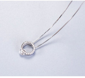 Silver Geometry Hollow Circle Full Diamond Necklace with simple temperament Single Zircon Short Chain - Acecare Jewellery Store