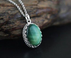 Gemstone necklace 925 sterling silver wholesale concise without chain - Acecare Jewellery Store