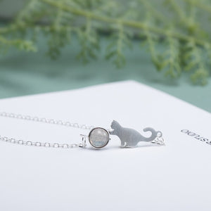 Silver anklet jewelry with cute cat pendant for woman - Acecare Jewellery Store