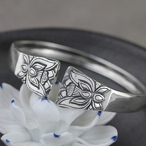 Concave Metal Flower Lotus Open Cuff Bangle Bracelet Jewelry - Acecare Jewellery Store