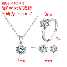 Load image into Gallery viewer, Simple Six-Claw Zircon Set Ear Stud Necklace Ring Three-Piece Hipster Jewelry - Acecare Jewellery Store