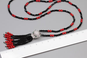 Handmade beaded agate leopard head necklace - Acecare Jewellery Store