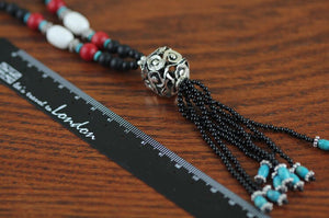 Handmade Beaded Design Sweater Chain Ethnic Wind Agate Turquoise necklace - Acecare Jewellery Store
