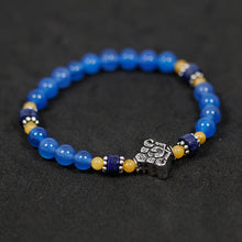 Load image into Gallery viewer, Silver handmade beaded blue agate bracelet - Acecare Jewellery Store