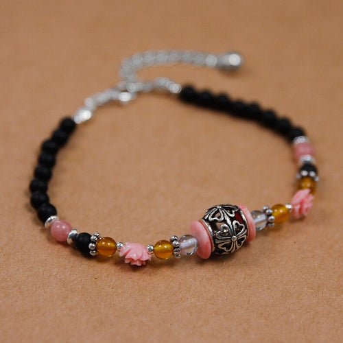 Handmade beaded black agate bracelet section floor carved hand string - Acecare Jewellery Store