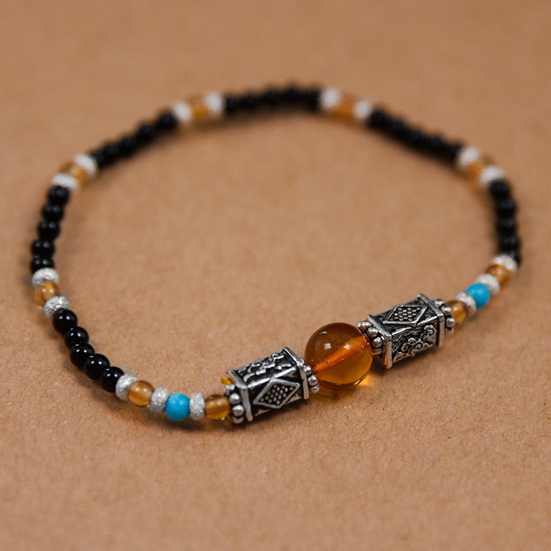 Handmade beaded agate bracelet female section amber citrine - Acecare Jewellery Store