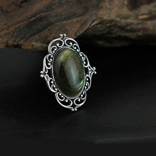 Load image into Gallery viewer, Antique Style Black Oval Labradorite Brooch Pin | Accessory Clothing - Acecare Jewellery Store