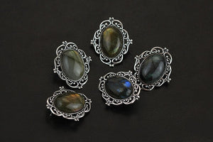 Antique Style Black Oval Labradorite Brooch Pin | Accessory Clothing - Acecare Jewellery Store