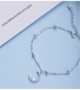 Silver beads moon and moon bracelet for Women | Wholesale - Acecare Jewellery Store