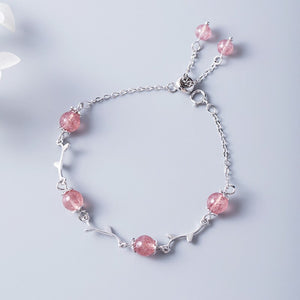 Silver pink girl heart strawberry crystal bracelet with Sen small fresh leaves design - Acecare Jewellery Store