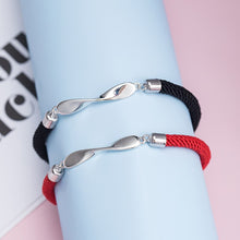 Load image into Gallery viewer, Silver mobius black red rope couple bracelet two color optional mirror polished design jewelry - Acecare Jewellery Store
