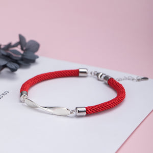 Silver mobius black red rope couple bracelet two color optional mirror polished design jewelry - Acecare Jewellery Store