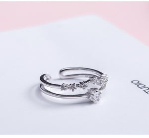 Silver corolla zircon opening ring - Acecare Jewellery Store