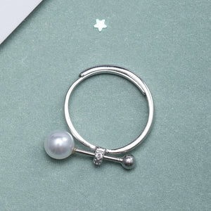 Silver match adjustable pearl open ring jewelry - Acecare Jewellery Store