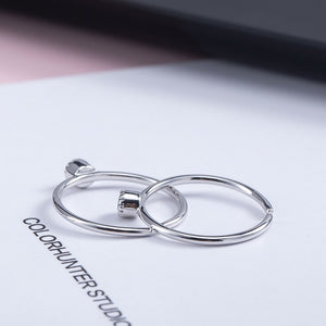 Silver personality round convex zircon opening ring - Acecare Jewellery Store