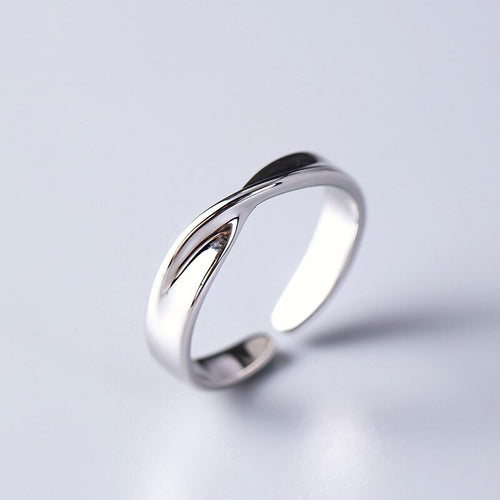 Silver simple glossy open ring | unisex | finger ring - Acecare Jewellery Store