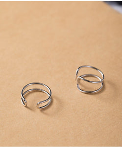 Silver double line opening simple personality X-shaped cross ring adjustable unisex - Acecare Jewellery Store