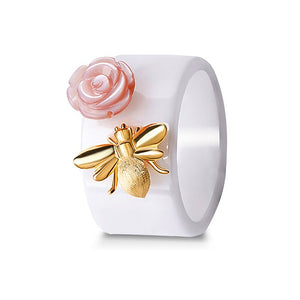 Jewelry Ring Original Rose Kiss Ceramic Women rings | Natural Pink Shellfish Rose Pure Silver Bee Ring - Acecare Jewellery Store