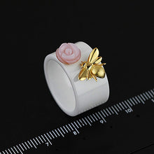 Load image into Gallery viewer, Jewelry Ring Original Rose Kiss Ceramic Women rings | Natural Pink Shellfish Rose Pure Silver Bee Ring - Acecare Jewellery Store