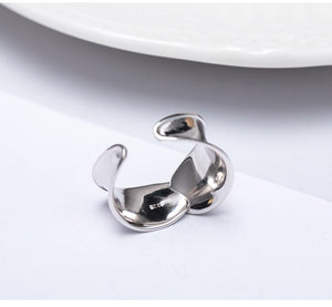 Silver twist woven interwoven open ring style design gold-plated polished craftsmanship - Acecare Jewellery Store