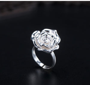 Ancient style silver rose open ring for women (wholesale) - Acecare Jewellery Store