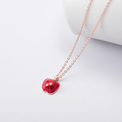 Silver Red Small  Red apple pendant Necklace - Acecare Jewellery Store