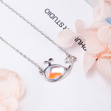 Load image into Gallery viewer, Silver necklace female small whale glass pendant necklace