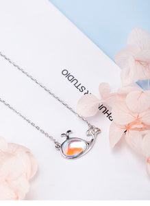 Silver necklace female small whale glass pendant necklace