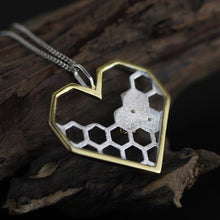 Load image into Gallery viewer, Silver jewelry original honeycomb heart-shaped pendant