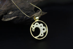 Silver original and fresh literary women's gold-plated wire drawing pendant