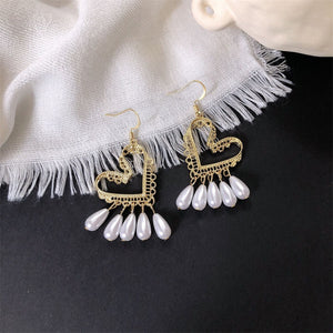 Bohemian Drop Pearl Heart Earring Jewelry