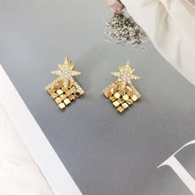 Load image into Gallery viewer, Inlaid Zircon Sequined Rhinestone Star Tassel Drop Earrings Jewelry