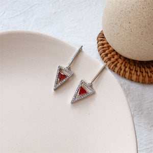 Inlaid Zircon TriangleRed Stone Silver Gold Drop Earrings