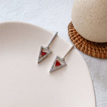 Load image into Gallery viewer, Inlaid Zircon TriangleRed Stone Silver Gold Drop Earrings