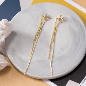 Silver stiletto earrings exotic style simple and beautiful gold-plated long earrings