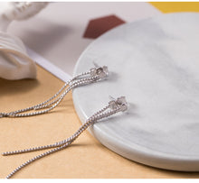 Load image into Gallery viewer, Silver stiletto earrings exotic style simple and beautiful gold-plated long earrings