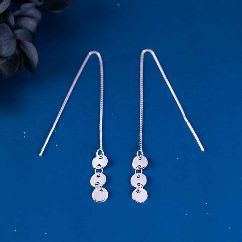Silver Fashion Glossy Round Disc Long Wire Earrings