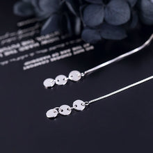 Load image into Gallery viewer, Silver Fashion Glossy Round Disc Long Wire Earrings