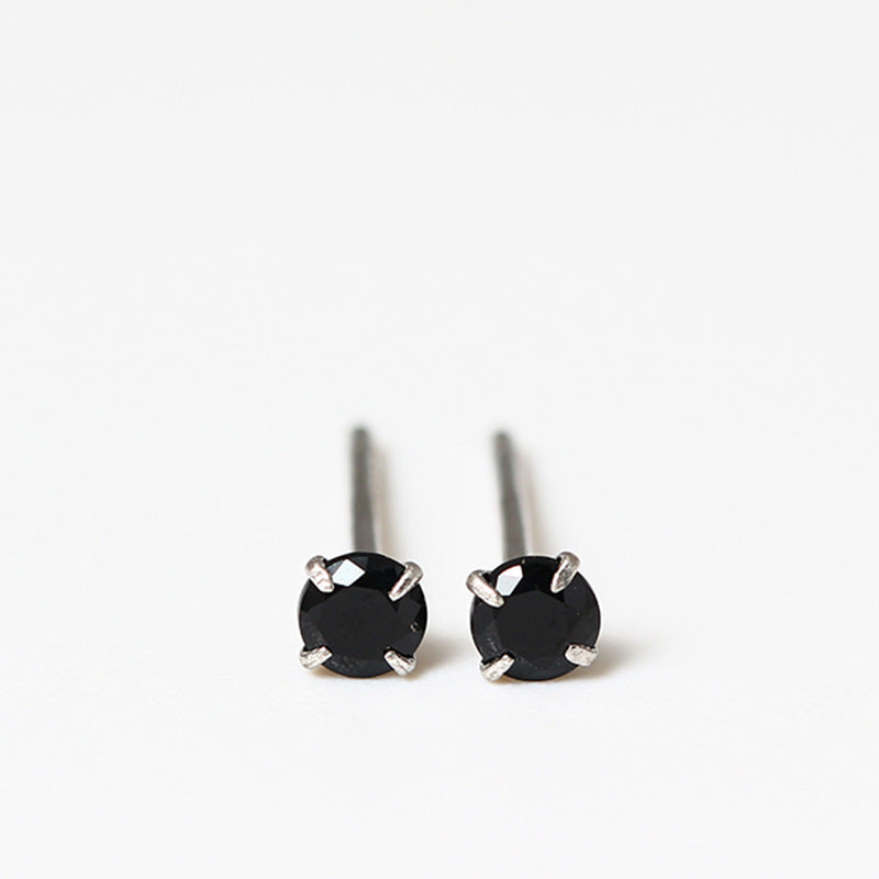 Mini zircon single balck diamond four-claw color silver earrings