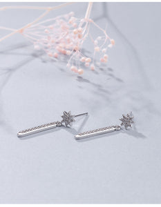 Silver sun zircon gold-plated earrings