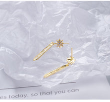 Load image into Gallery viewer, Silver sun zircon gold-plated earrings