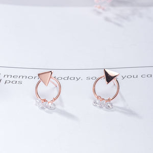 Silver Crystal Mirror Polishing Gold Design Earrings for women