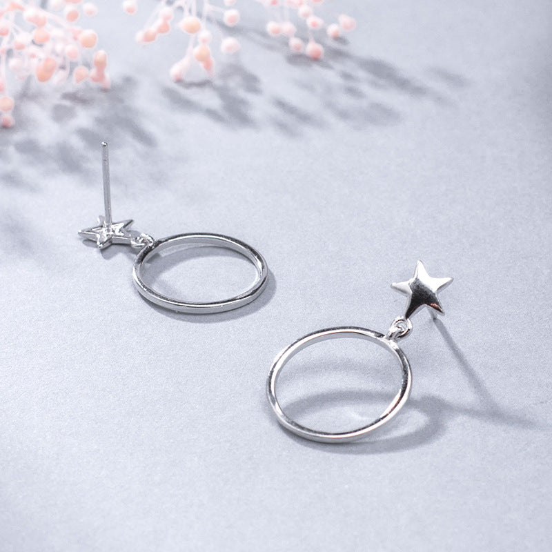 Silver small fresh five-pointed star circle polishing craft earrings for women