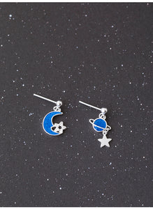 Blue Epoxy Moon Star creative earrings for women