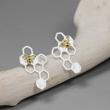 Load image into Gallery viewer, Silver novelty cute Bee Honeycomb earring for women