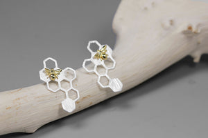 Silver novelty cute Bee Honeycomb earring for women
