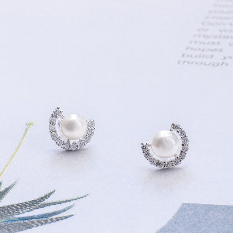 Silver C-type natural zircon bead small fresh design inlaid craft earrings