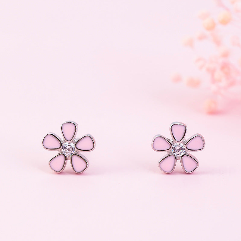 Silver pink sweet Epoxy flower heart diamond  earrings